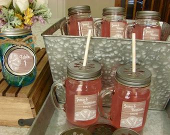 Personalized Mason Drinking Jars - Pint Mason Jar Mugs with Handles 12 Pieces - Wood and Lace Design