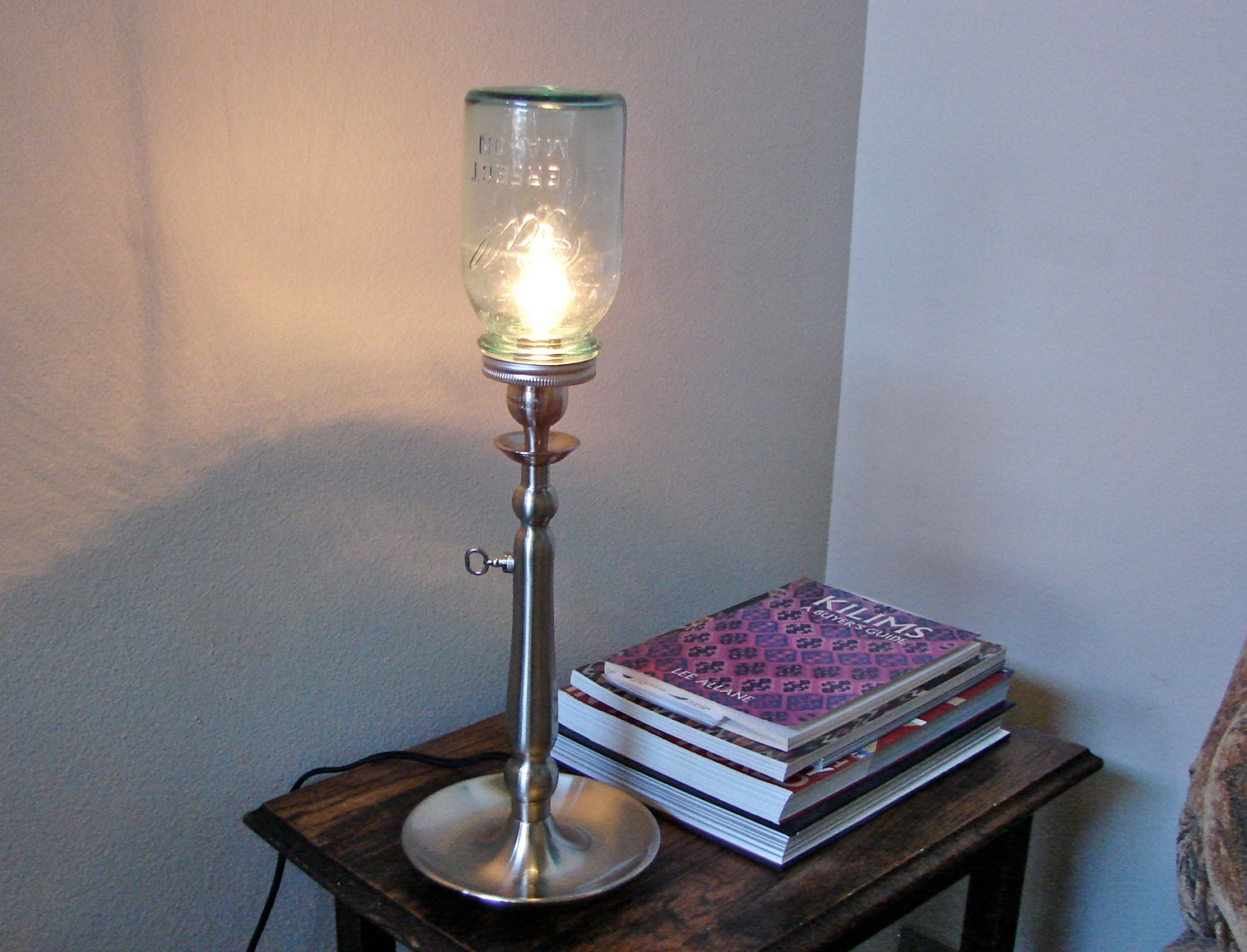 vintage blue ball mason jar tall table lamp with built in. Black Bedroom Furniture Sets. Home Design Ideas