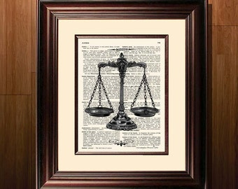 "Fine Art Print - ""Scales of Justice"" - 8.5""x11"", Attorney print, Lawyer Gift, Scales of Justice, Pass the Bar gift, Lawyer Office Decor"