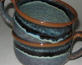 Pottery Soup Mug, Starry Night Blue, Microwave and Dishwasher Safe, Lead Free Glaze, Wheel Thrown