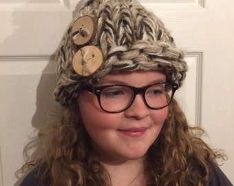 Maxi handknit wool hat, one of a kind with handmade wooden buttons.