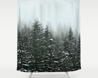 shower curtain bathroom wilderness rustic home decor pacific northwest winter storm mountains