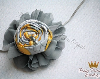 Hope - Headband, Baby Headband, Photography Prop, Couture Headband, Flower Headband, Fabric Headband, Rolled Rosette, Yellow and Grey