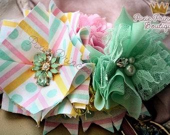 Sprinkles - Headband, Baby Headband, Photography Prop, Couture Headband, Hair Clip, Spring Headband, Pastel Headband, Mint and Pink