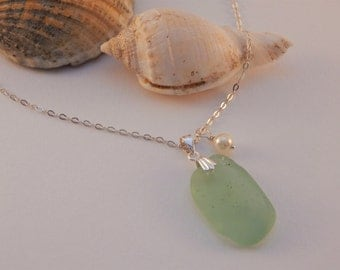 Seafoam green Sea glass Pendant Necklace with Sterling Silver chain and Pearl charm