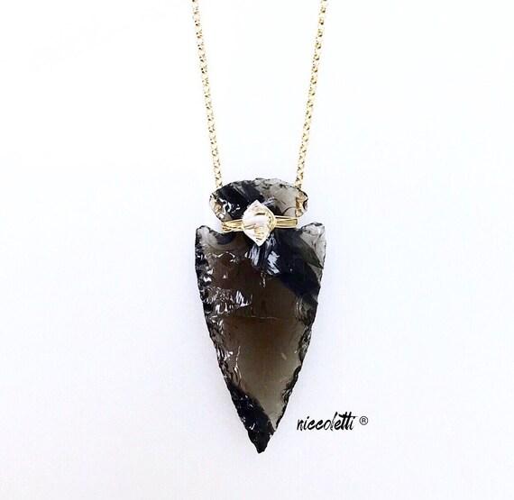 Obsidian Arrowhead Necklace / Bohemian Jewelry / by niccoletti