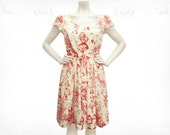 Alice in Wonderland ~ Toile de jouy Cotton puff sleeve dress-Red/Ivory