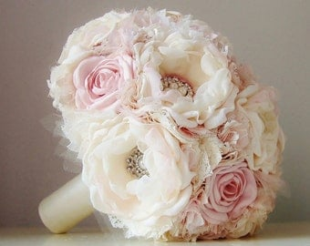 READY TO SHIP - Fabric Flower Bouquet, Wedding Bouquet, Bridal Bouquet, Vintage Wedding, Brooch Bouquet