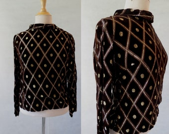Brown Burn Out Velvet and Gold Top - 1960s