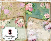 75% OFF SALE OLD Paper Roses Digital Collage Sheet Coasters 4x4 inches Greeting Cards Digital Scrapbooking Instant Download