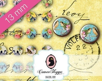 75% OFF SALE Digital collage Sheet Circle ENCHANTED Birds 13 mm Digital Collage Sheet for 12 mm pairs of earrings