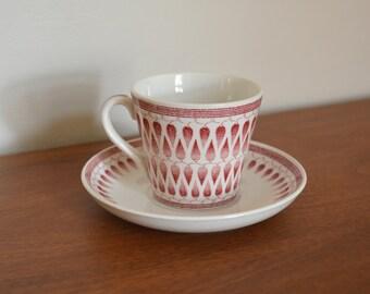 Vintage Upsala Ekeby Gefle Demitasse Cup and Saucer Set. Mid Century Kitchen Home Decor. Made in Sweden Tea Cup. Pink White Lillemor Pattern