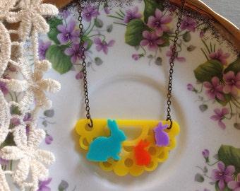 Bright bunny family necklace