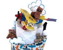 Airplane baby shower, airplane diaper cake, topsy turvy diaper cake, baby boy, teddy bear, centerpiece, decorations, biplane, minky blanket