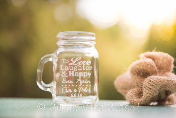 SALE!!!! set of 120 Custom Etched Mini Mason Jar Shot Glass Personalized  Wedding Favor Groom's Men Gift