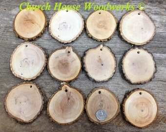 """DIY 25 Large 3""""+ Wood Slice Ornaments use for Christmas, rustic weddings, country decor, tree slice ornament"""