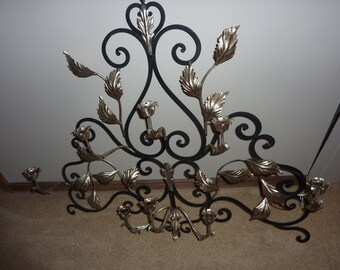 Large Italian Tole Black/Silver 8 Arm Candelabra