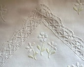 Handmade Cushion Cover with Lace and Embroidery - Vintage Linen