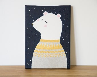 Painting polar bear with icelandic gold and silver sweater and stars sky - Acrylic on canvas - Nursery - Baby or children room - Miniature