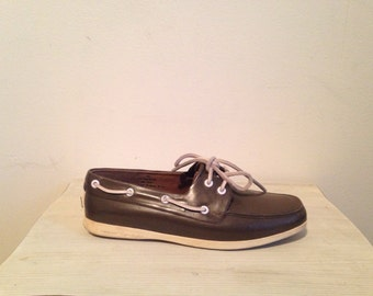 80s brown deck shoes, sperry top-siders boat shoes, nautical rubber boots, size 7 -vintage -