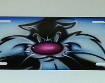 Airbrush License Plate bad cat