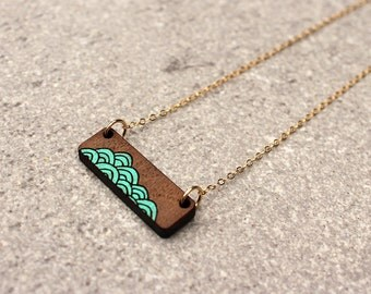 Wave Necklace | Laser Cut Necklace | Minimalist Necklace | Layering Necklace Handpainted Necklace | Laser Cut Wood Necklace | Gifts under 50
