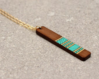Lines Necklace, Geometric Necklace, Wood Necklace, Long Layering Necklace, Laser Cut Necklace, Laser Cut Wood Necklace, Gifts for her