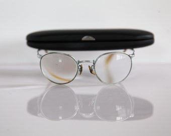 Vintage  1960's Eyewear,  Silver Frame,  Clear Lenses RX Prescription . Rare Piece. Size Small, Petite Adults