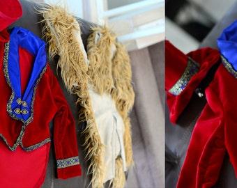 Boutique Custom Handmade Ringmaster, Lion Tamer, Circus Jacket Red Velvet or Navy Velvet with Satin Gold