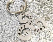 Faith Hope Love handstamped keyring/ keychain