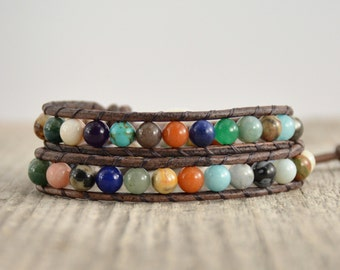 Semiprecious gemstone bead bracelet. Mixed stone hippie style wrap bracelet