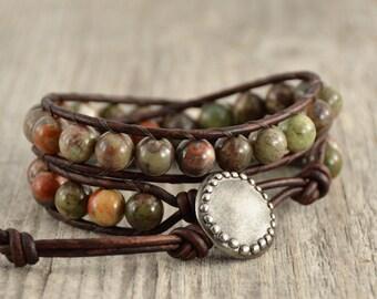 Natural earth tone beaded bracelet. Rustic double wrap hippie bracelet