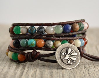 Multicolor hippie bracelet. Beaded bohemian leather wrap bracelet