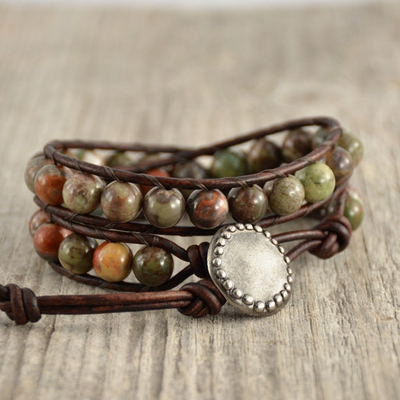 Natural earth tone beaded bracelet. Rustic double wrap hippie