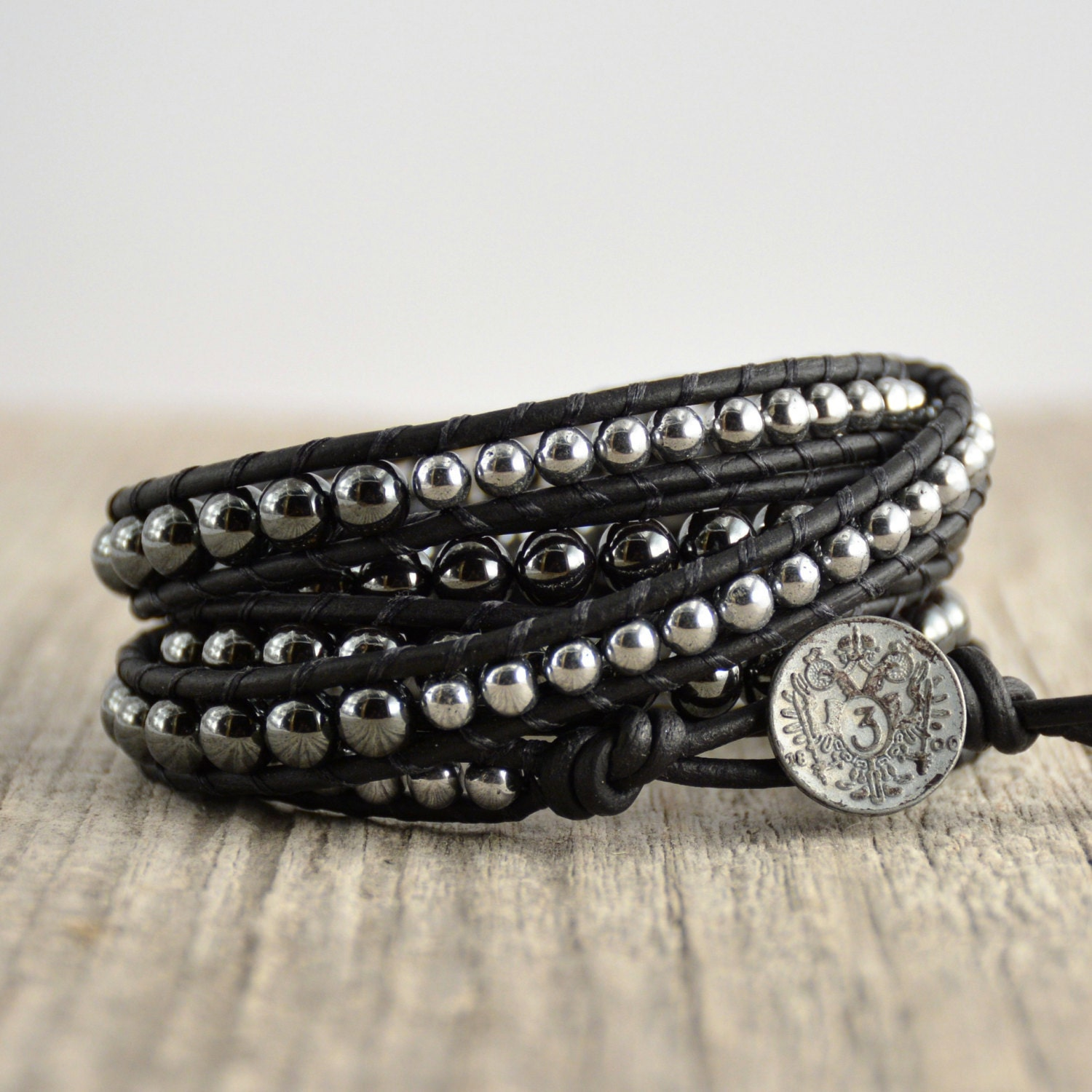 Urban Chic Rocker Jewelry. Five Wrap Silver And Black Hematite