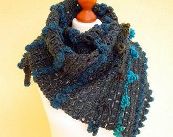 Crochet Scarf / Fall Fashion,  shades of blue, green, yellow, teal