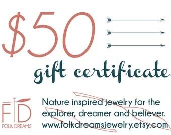 Gift Certificate, Folk Dreams Jewelry Shop Gift Certificate, 50 dollar value