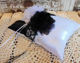 Ring Bearer Pillow , Black and White Satin Pillow , Brides Pillow , Wedding Decoration
