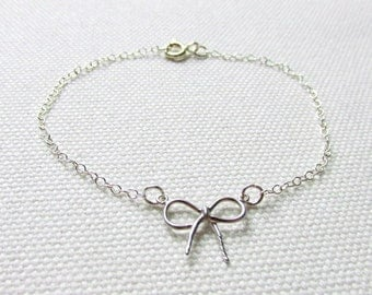 Delicate Bow Bracelet Sterling Silver Chain Dainty Minimal Stacking Layering Bracelet Simple Jewelry