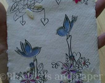 Two love birds in a garden of Flowers. Bluebird artwork