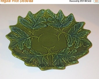 50% OFF SALE Vintage California Pottery Ceramic Green Leaf Bowl 1950s, Great for Autumn or Holiday Decor
