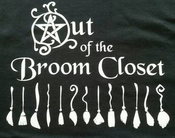 ALL SIZES (Sm-XLg) Black T-shirt - Out of the Broom Closet Design Shirt Wicca Wiccan Pagan Pentacle