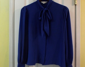 Blouse Royal Blue With Bow Tie Size 8 Office Pretty