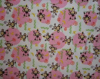 White with Pink Monkeys Flannel Fabric by the Yard