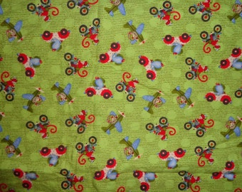 44 Inches Green Animals Driving Vehicles Flannel Fabric