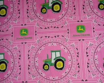 Pink John Deere Bandana Cotton Fabric by theYard
