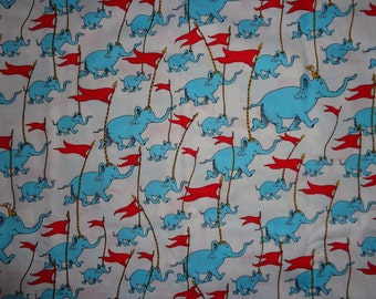 White Dr Seuss Oh the Places You Go  Cotton Fabric by the Yard