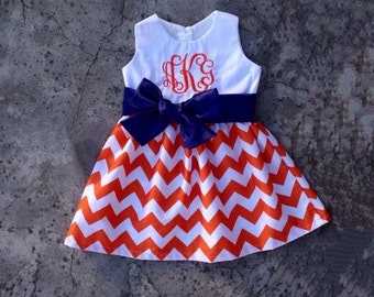 Monogram girl fall clothes, baby girl dress, toddler girl outfits, Orange chevron navy sash, personalized baby girl clothes, auburn dress