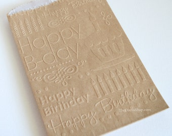 Embossed Kraft Bags - Happy Birthday Party Candy Bags - Goody Bags  Sweets Treat Bags - Party Favor Goodie Gift Bags - Cookie Cupcake Bags