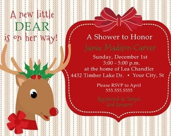 Little Reindeer Baby Shower Invitation